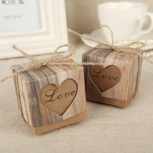 Gratis bezorging 50 stks bruiloft liefde rustieke kraft candy box met jute jute shabby chic vintage twine huwelijkscadeau gunst dozen(China (Mainland))