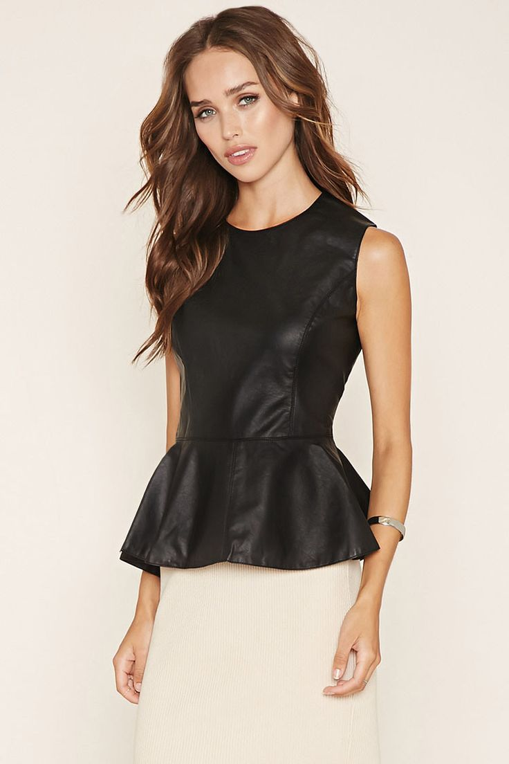 A sleeveless faux leather peplum top with a round neckline and an exposed back zipper.