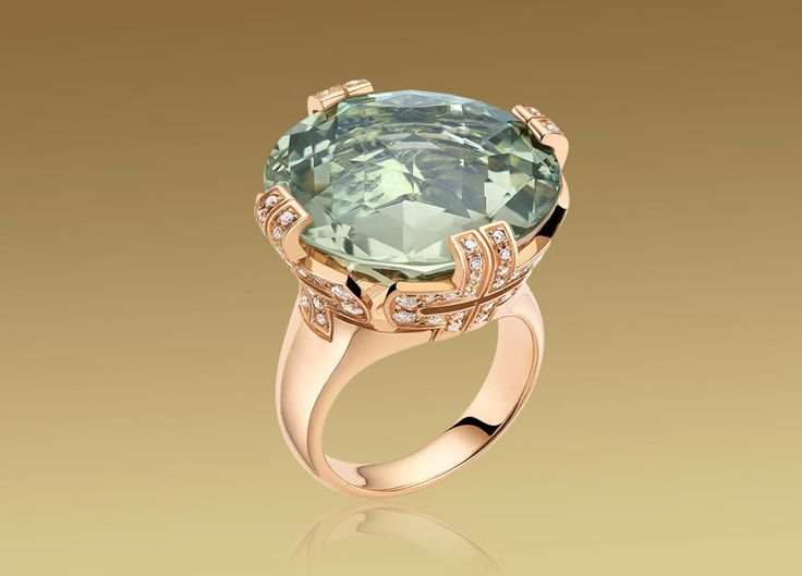 bvlgari parentesi cocktail big ring in pink gold with green quartz and pave diamonds