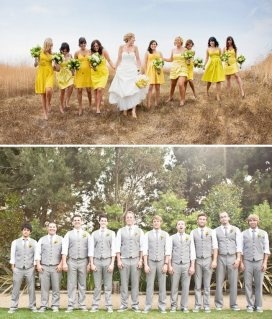Yellow bridesmaid dresses and gray suits with just vests .... I think I would go with red  or orange and gray instead of yellow.