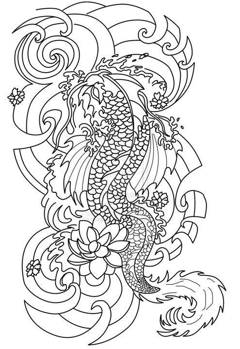 Tatouage japonais coloring my world pinterest japanese - Dessin carpe koi ...