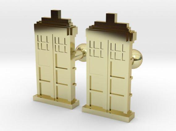 Custom Doctor Who Tardis Cufflinks | Personalized Gifts For Him | Keepsake Engraved Cufflinks | Geek Wedding Cufflinks | Geek Jewelry