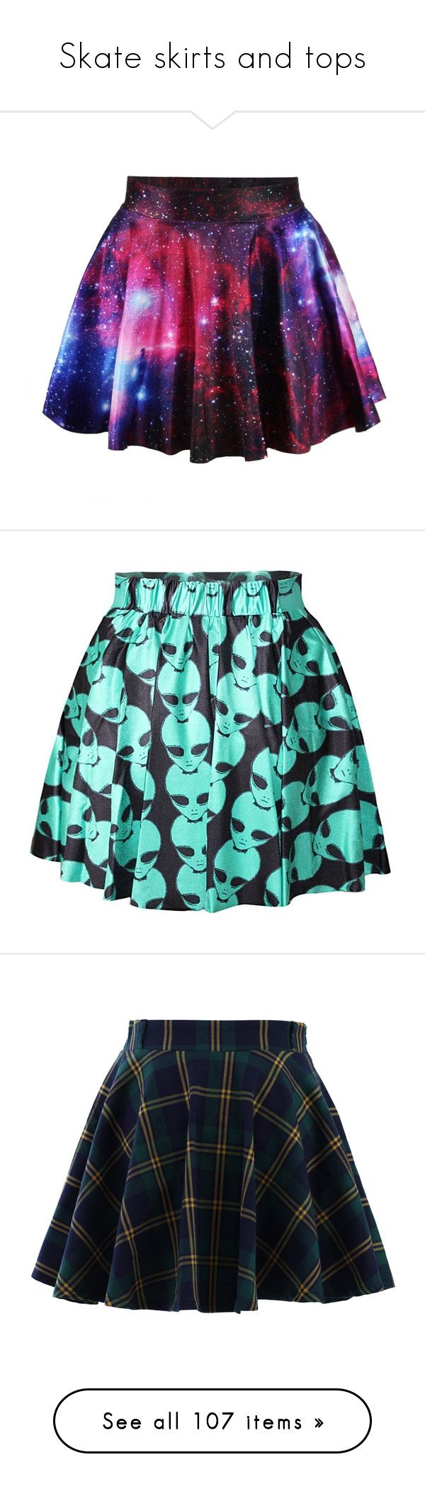 """Skate skirts and tops"" by neverland-is-just-a-dream-away ❤ liked on Polyvore featuring skirts, bottoms, gonne, skater skirt, galaxy skater skirt, flare skirt, purple skirt, cosmic skirt, saias and blue skater skirt"