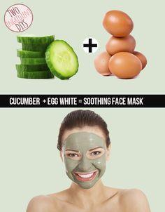 Monte uma máscara facial calmante com pepino e clara de ovo.
