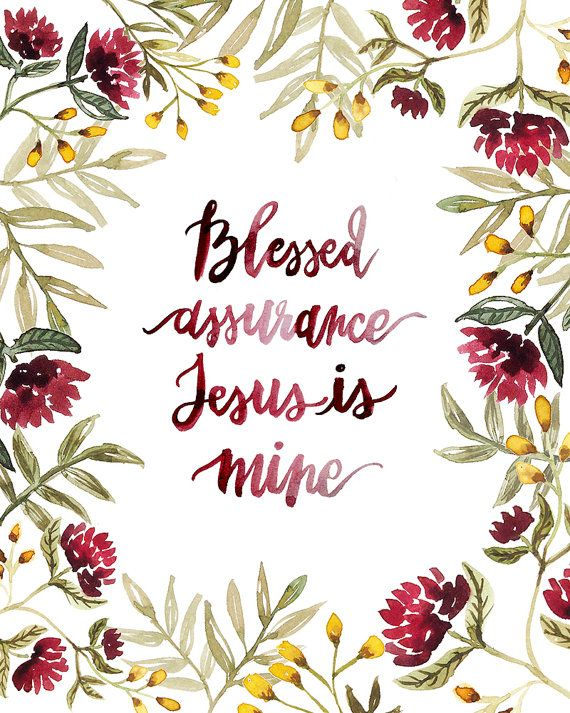Blessed Assurance Hand Lettered Hymn Art Print by AprylMade