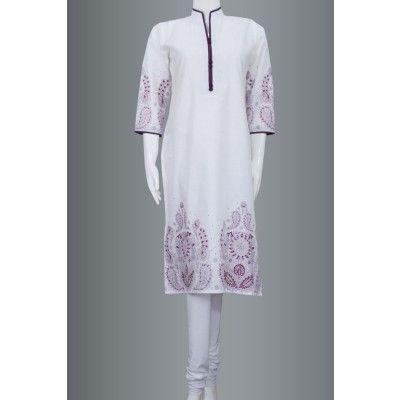 Glamorous White Cotton Kurti