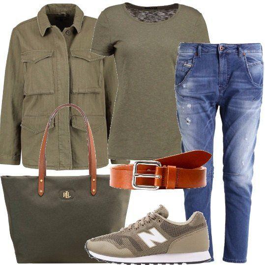 Jeans+a+vita+alta+e+gamba+stretta,+abbinati+ad+una+cintura+cognac,+in+pelle,+con+fibbia,+una+t-shirt+verde+militare,+a+manica+corta+con+scollo+tondo+e+ad+una+giacca+leggera,+con+collo+classico+e+chiusura+con+bottoni.+Sneakers+basse+in+tessuto,+con+punta+tonda+e+lacci,+shopper+Ralph+Lauren+capiente,+in+tessuto,+con+doppio+manico.