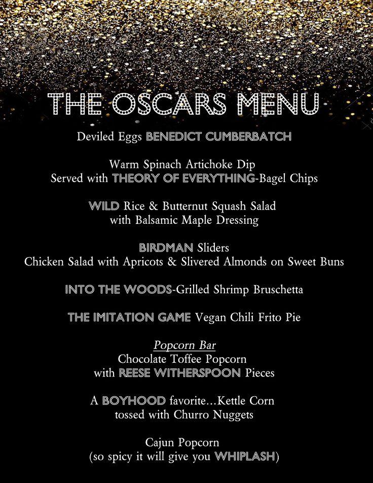 2015 Oscar Party food menu