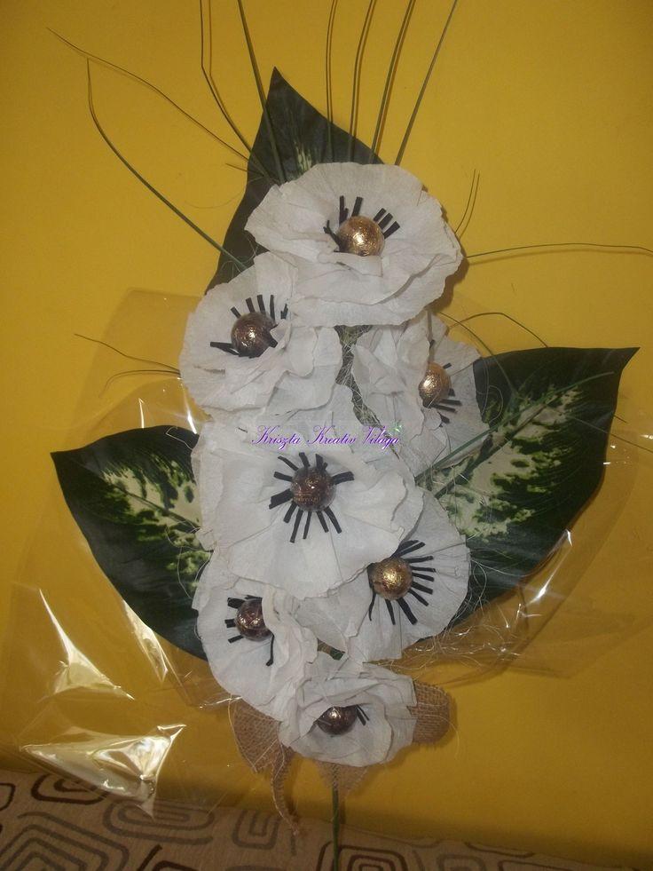 Bonbon csokor krepp papírból