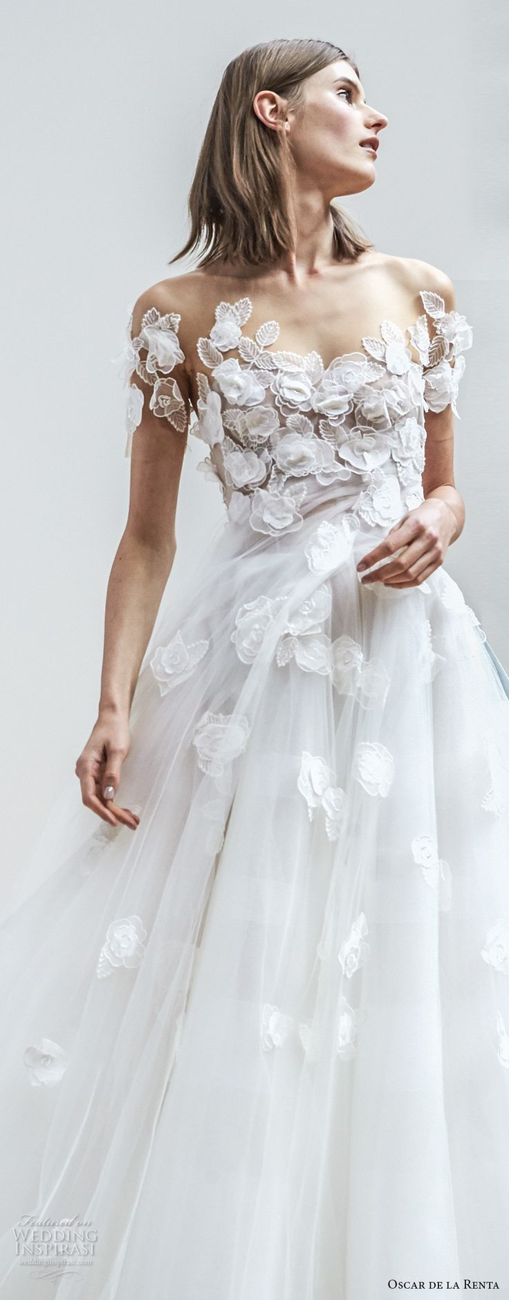 oscar de la renta spring 2018 bridal short sleeves sweetheart neckline heavily embellished bodice tulle skirt romantic princess ball gown a  line wedding dress sweep train (04) zv -- Oscar de la Renta Spring 2018 Wedding Dresses