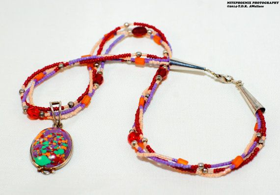 Psychedelic Mosaic Jasper, Carnelian, .925 Sterling Silver - 3 String Necklace -  Hippie Jewelry Free Ship & Gift Box #eyeintheskydesigns