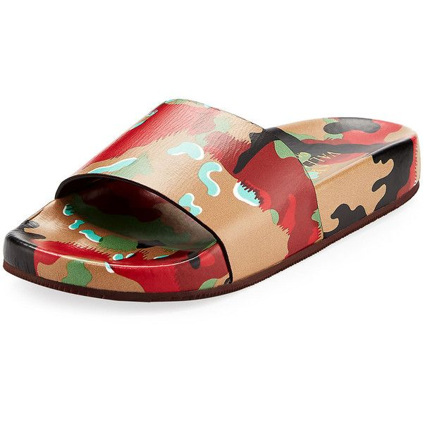 Valentino Men's Camo Leather Slide Sandal ($519) ❤ liked on Polyvore featuring men's fashion, men's shoes, men's sandals, multi, mens leather shoes, mens flat shoes, valentino mens shoes, mens shoes and mens sandals