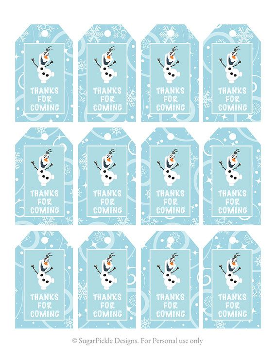 Frozen Favor Tags, Thank You Tags, Loot Bag Tags, Frozen Birthday Printable, Frozen Party Decorations on Etsy, 11.62 ₪