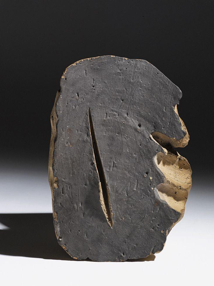 Lucio Fontana, Concetto Spaziale - Natura 1959. Terracotta with slash