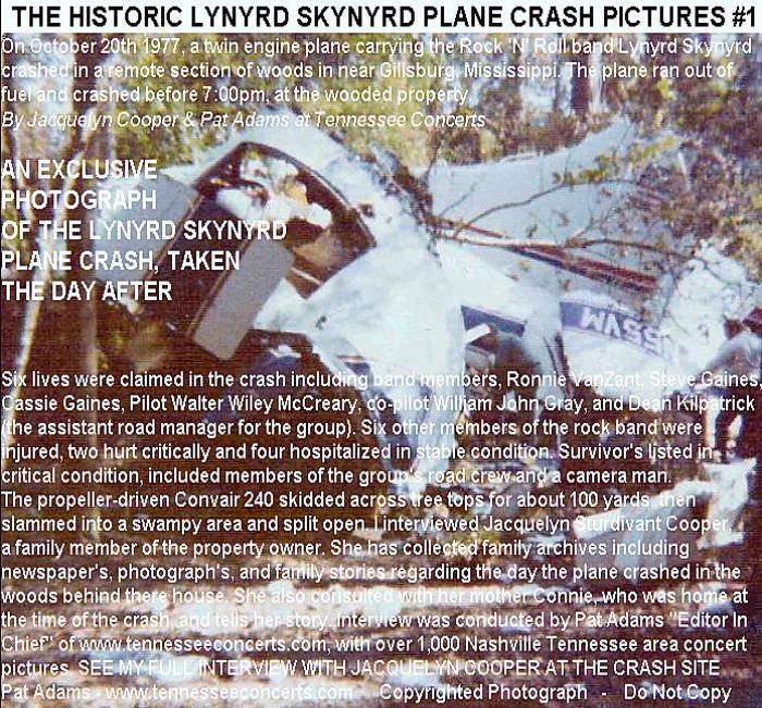 Crash photos skynyrd plane lynyrd