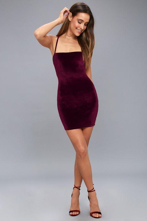 Sultry Summoning Burgundy Velvet Bodycon Dress 2