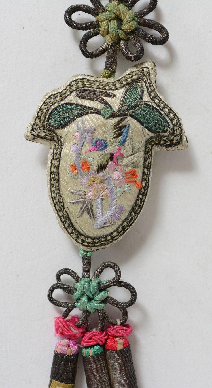 Antique Chinese Hanging Tassel Pendant Silk Embroidery John Wanamaker New York | eBay