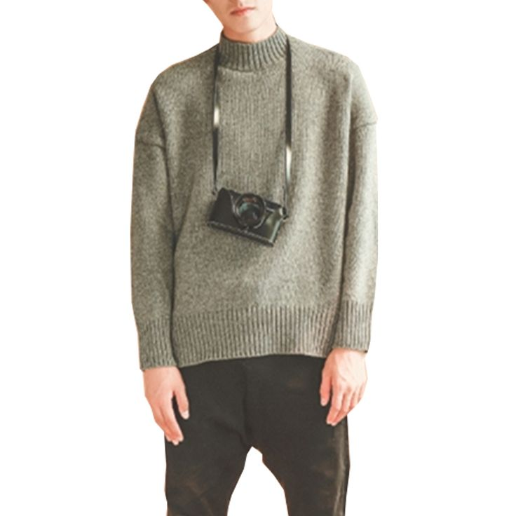 Loose Gray Color Solid Knitted Sweater Men Fashion Turtleneck Mens Wool Sweaters Pullovers Winter Autumn Jumpers Sueter Hombre
