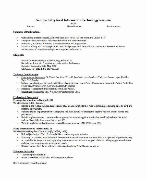 Help Desk Technician Resume Luxury Help Desk Technician Resume Template 8 Free Documents