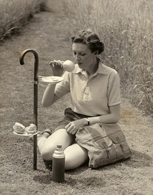 hiking stick snack bag #1930s #tea #vintage