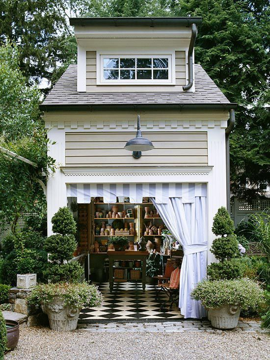Charming outdoor potting shed.