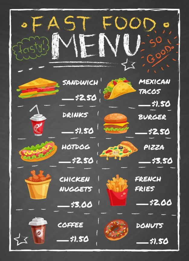 Fast Food Restaurant Menu Auf Tafel Free Vector Fast Food Jede Art Fur Schnelle Pari In 2020 Speisekarte Restaurant Fast Food Menu Essen Menu Design