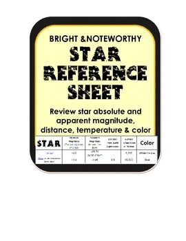 Astronomy Star Reference Sheet magnitude, temperature