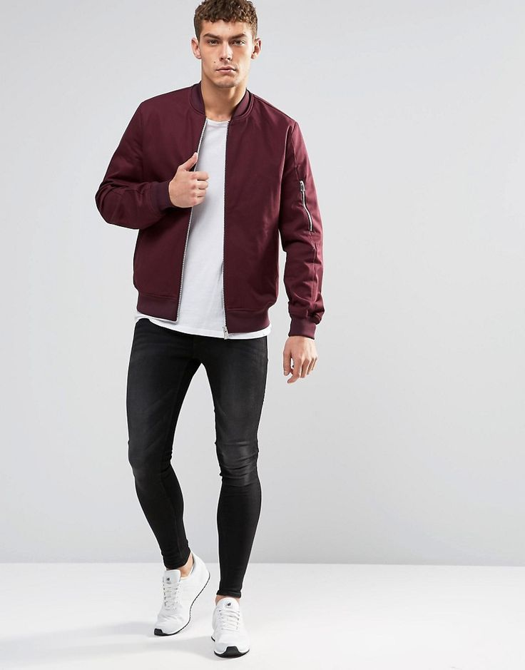 Image 4 of ASOS Bomber Jacket With Sleeve Zip In Burgundy