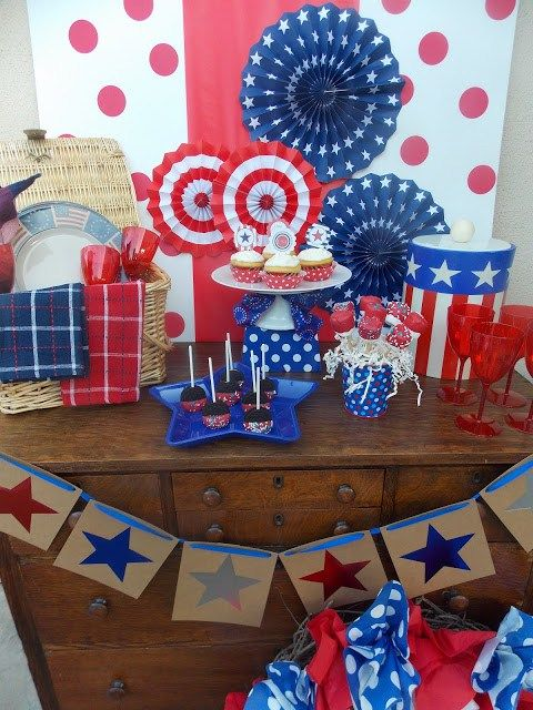 Happy 4th of July party with an amazing dessert table! Red, White, and Blue!!