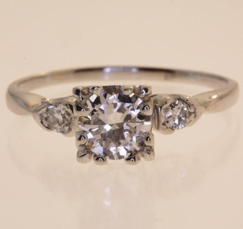 platinum round diamond engagement ring - vintage. gorgeous.