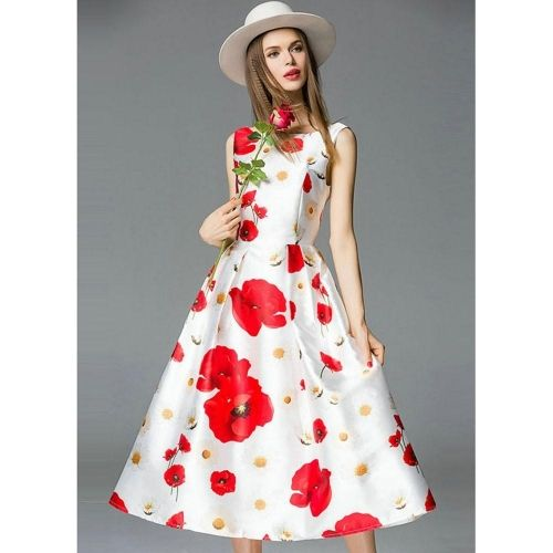 Chiffon Infinity Dress: Infinity Store White Floral Print Sleeveless Party Dress