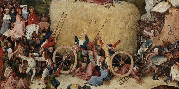 Bosch-Gemälde mit verschiedenen Szenen um einen Heuwagen