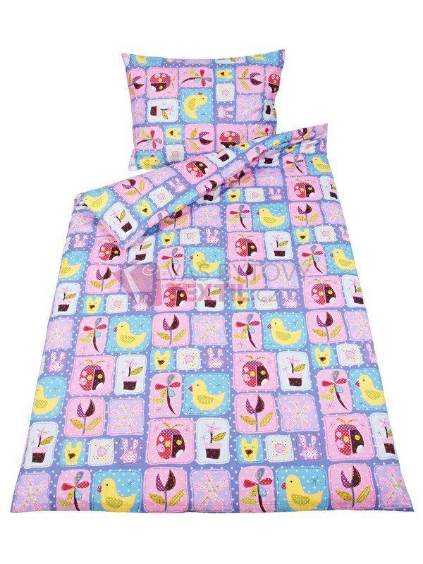 Dětské povlečení ze 100% hladké bavlny na jednolůžko 140x200 + 90x70 - vzor 348