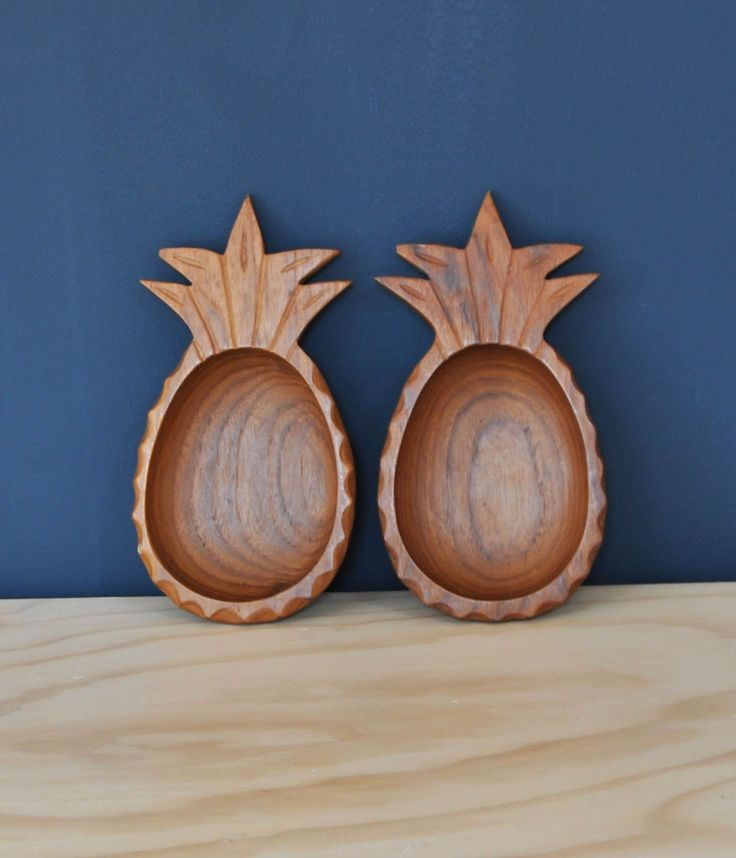 Pair of Wooden Pineapple Bowls - Bring It On Home
