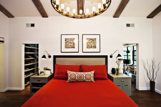 Bedroom - Luxurious Red Bedroom Ideas Applied Modern Round Chandelier And Beams Ceiling Design With Open Walk In Closet Design: Red Teenage Bedroom Design Ideas with Strong Dramatic Interior