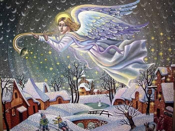 Рождественские открытки с ангелам, открытки цитатами простые