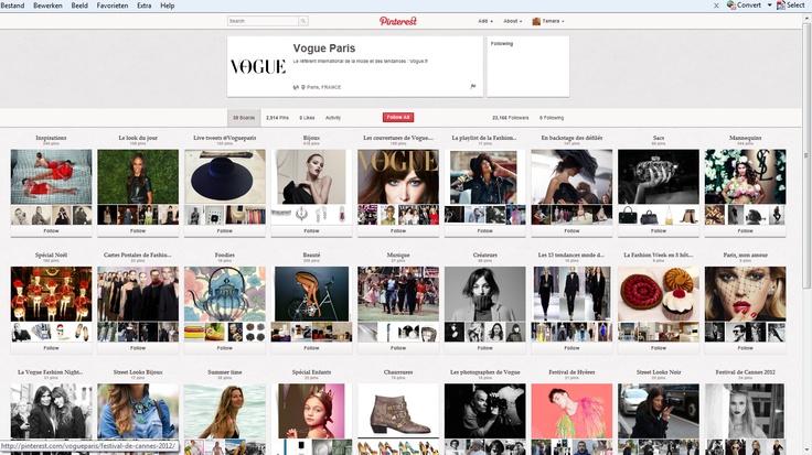 Dit is de Pinterest van het tijdschrift Vogue Paris. Hier vind je een board met al hun covers. Allemaal boards vol inspiratie die een extraatje zijn naast hun magazine.