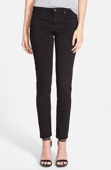 AG 'Prima' Mid Rise Cigarette Jeans (Super Black) available at #Nordstrom