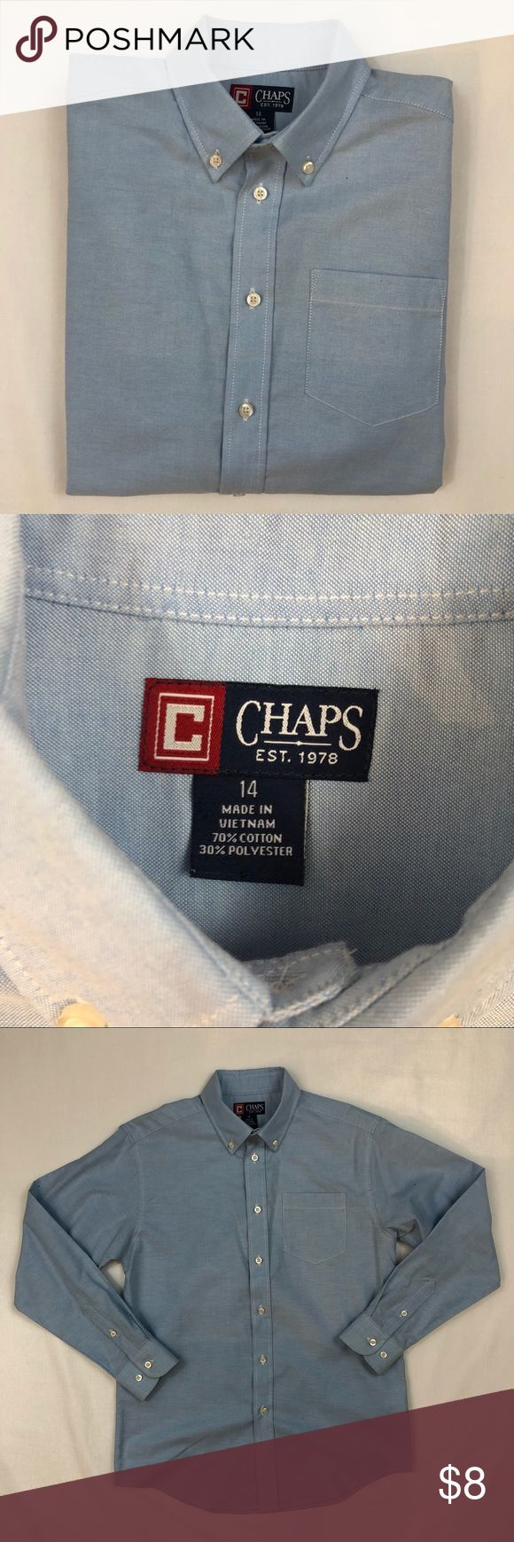 Chaps Boys Dress Shirt Gently worn  Size 14  Great condition   Item611 Chaps Shirts & Tops Button Down Shirts