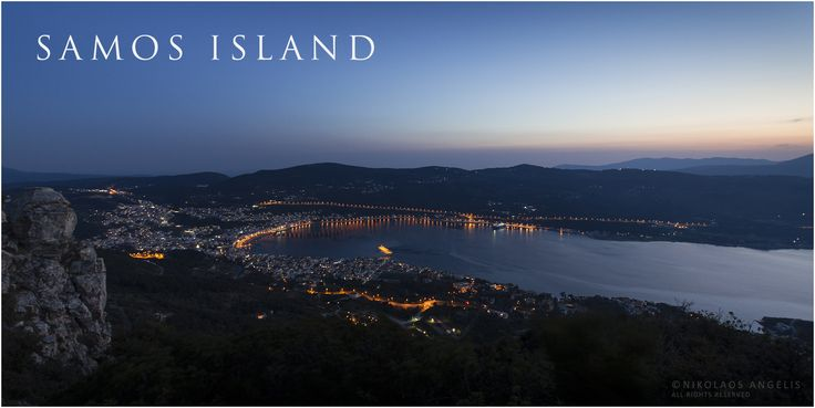 Samos town at dusk viewed from mount Thios