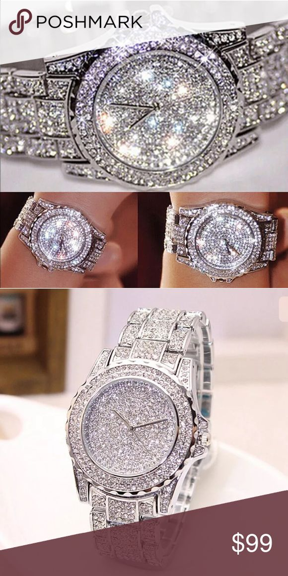 💥Viva L'as Vegas Baby💥 Oh My Goodness- warning ⚠️ please put on your sunglasses 😎 before looking at this beauty. Massive Bling Absolutely Stunning Australian Crystal Silver Watch Brand New Accessories Watches