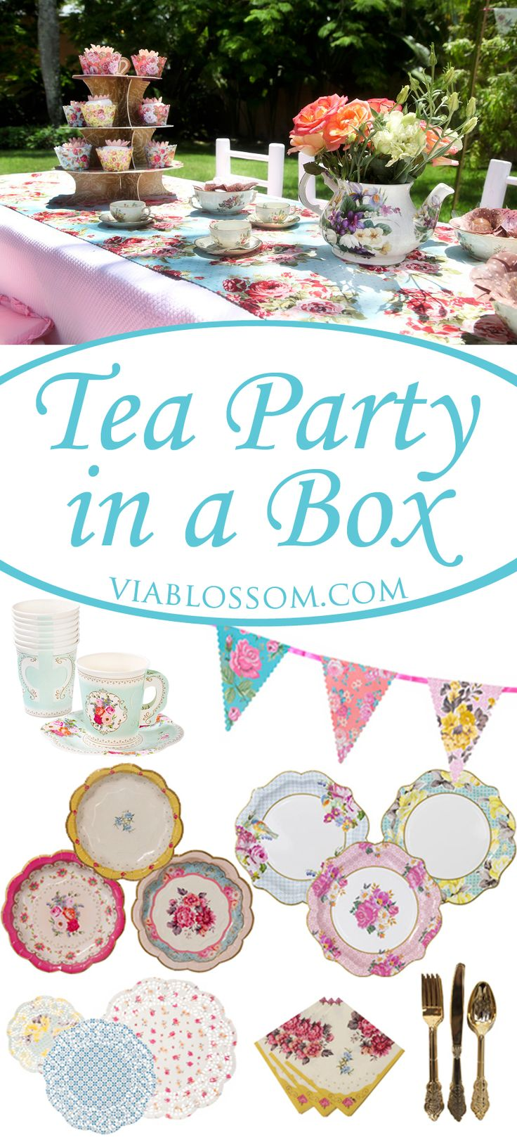 No guess work! Celebrate a scrumptious Tea Party for 12 guests with our Tea Party in a Box! In this party pack we have included our favorite Tea Party Supplies for easy shopping at a lower cost