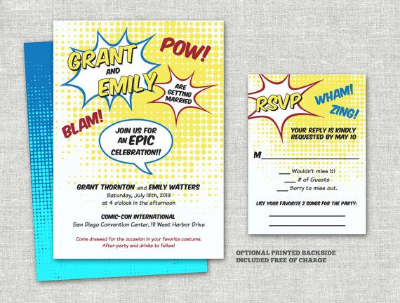 Comic Strip Book Superhero Wedding Invitation Set By Merrymint, $20.00 | Superhero  Wedding | Pinterest | Wedding Invitation Sets, Invitation Set And ...