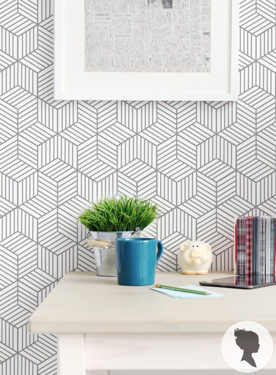 Self Adhesive Cube Pattern Removable Wallpaper D045 di Livettes