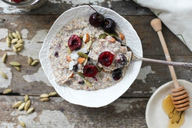 Nutrition Stripped | Cherry Cardamom Bircher Muesli | http://nutritionstripped.com/cherry-cardamom-bircher-muesli/