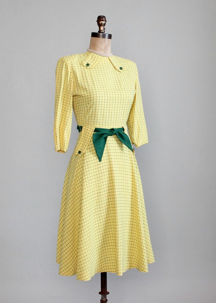 Vintage 1940s Yellow and Green Swing Dress.