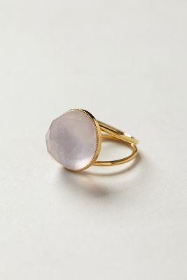 Anthropologie Eva Krystal Etesian Quartz Ring - women's jewelry (24k gold, pink fashion accessories)