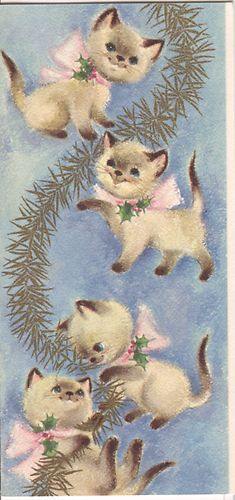 Vintage Hallmark Christmas Card Siamese Kitttens with Garland