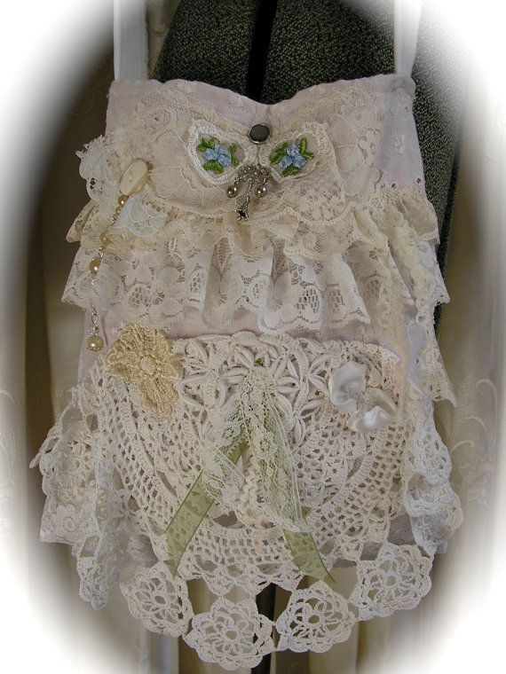White Doily Purse shabby n chic beads lace door TatteredDelicates,