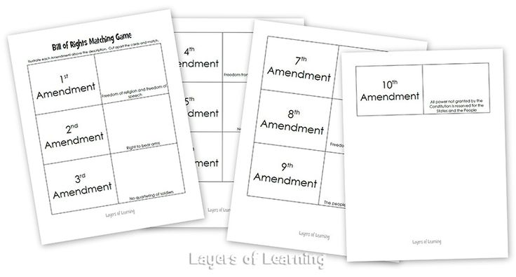 a printable bill of rights matching game free printables pinterest more matching games. Black Bedroom Furniture Sets. Home Design Ideas